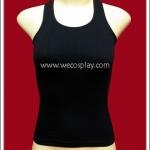 เสื้อกล้ามไร้รอยตะเข็บข้าง สีดำ แบบเว้าไหล่ เข้ารูป