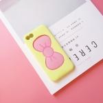 เคสไอโฟน 5/5s/SE (ซิลิโคนนิ่ม) สีเหลืองโบว์ชมพู เปิดโบว์ตั้งได้