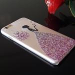 เคสไอโฟน 6 เคสเจ้าหญิงประดับเพชรกระโปรงชมพูอมม่วง
