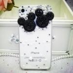เคสไอโฟน 4/4s (Case Iphone 4/4s) กรอบโปร่งใสประดับเพชรมุก รูปหัวมิกกี้เม้าส์ดำ