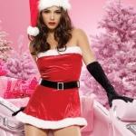 xm009 ชุดแซนตี้ ชุดซานต้าสาว แซกเกาะอก พร้อมหมวกและเข็มขัดคะ