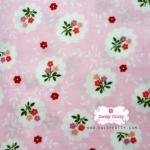 ผ้าคอตตอนไทย 100% 1/4 เมตร พื้นสีชมพูหวาน ลายดอกไม้
