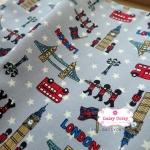 ผ้าคอตตอนลินิน 1/4ม.(50x55ซม.) พื้นสีเทา ลายลอนดอน