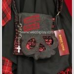 กระเป๋าสะพายสไตล์พั้งค์ ลายหัวกะโหลก สีดำแดง Skull Punk Bag