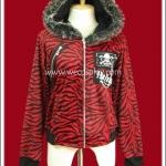 เสื้อแจ๊คเก็ตพังค์ Punk Jacket ลายม้าลาย สีดำแดง มีฮู้ด สกรีนลายหัวกะโหลก