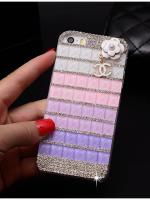 เคสไอโฟน 6 (Hard Case) ประดับเพชรและคริสตัลสีขาวชมพูม่วงพร้อมห้อยดอกไม้ Channel
