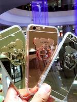เคสไอโฟน6/6s (TPU CASE) เคลือบฟิล์มกระจก พร้อมห่วงหมี สีทองชมพู