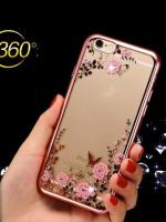 เคสไอโฟน 7 Plus (TPU CASE) Rose Gold Pink Flower