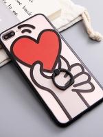 เคสไอโฟน 7 Plus (Silicone case and Hard case back) Give Heart พร้อมห่วง