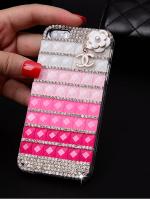 เคสไอโฟน 6 (Hard Case) ประดับเพชรและคริสตัลสีขาวชมพูอ่อนชมพูเข้มพร้อมห้อยดอกไม้ Channel