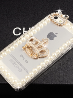 เคสไอโฟน 6 (Hard Case กรอบใส) ประดับเพชรมุกและ มงกุฏสีทอง