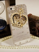 เคสไอโฟน 5/5s (Case Iphone 5/5s) เคสไอโฟนกรอบโปร่งใสประดับเพชร และมงกุฏเพชร