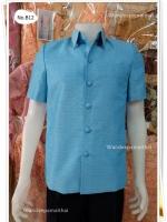 เสื้อผ้าไหมญี่ปุ่นซาฟารี สีฟ้า ซับผ้ากาวทั้งตัวมีซับใน มีเสริมไหล่ กระเป๋า 3 ใบ เบอร์ XL