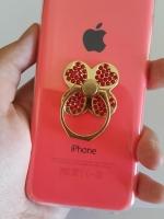 เคสไอโฟน5C (Soft Case) คลุมรอบเครื่องประดับห่วงใบโคลเวอร์สีแดง