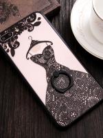 เคสไอโฟน 7 Plus (Silicone case and Hard case back) Black Wedding Dress พร้อมห่วง