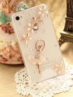 เคสไอโฟน 5C (Case Iphone 5C) ( เคสไอโฟนกรอบโปร่งใส ประดับเพชร หรูหรา สาวเต้นบัลเล่ย์ กระโปรงกรีบดอกไม้ )