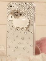 เคสไอโฟน 5/5s (Case Iphone 5/5s) ( เคสไอโฟนกรอบโปร่งใสประดับเพชร รูปแกะน้อย )