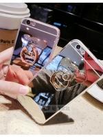 เคสไอโฟน 7 (TPU CASE) เคลือบฟิล์มกระจก พร้อมห่วงหมี สีเงิน