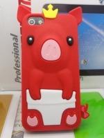 เคสไอโฟน 5/5s (Case Iphone 5/5s) เคสซิลิโคน หมูน้อย สีแดง