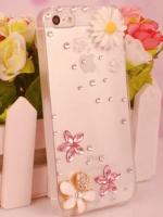 เคสไอโฟน4/4s (Case Iphone 4/4s) กรอบโปร่งใส ประดับดอกไม้และเพชร เรียบหรู