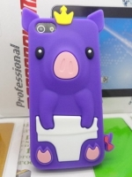 เคสไอโฟน 5/5s (Case Iphone 5/5s) เคสซิลิโคน หมูน้อย สีม่วง