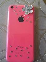 เคสไอโฟน5C (Soft Case) คลุมรอบเครื่องประดับดอกไม้เพชรมุมขอบ