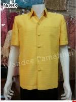 เสื้อผ้าไหมญี่ปุ่นซาฟารี สีเหลือง ซับผ้ากาวทั้งตัวมีซับใน มีเสริมไหล่ กระเป๋า 3 ใบ เทศกาลวันพ่อ เบอร์ M