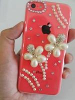 เคสไอโฟน 5C (Hard Case) กรอบใสประดับเพชรรูปดอกไม้มุก