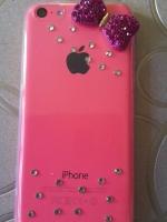 เคสไอโฟน5C (Soft Case) คลุมรอบเครื่องประดับโบว์ชมพูเรียบหรู
