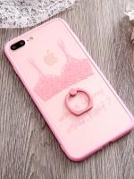 เคสไอโฟน 7 Plus (Silicone case and Hard case back) Pink ฺBra พร้อมห่วง