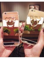 เคสไอโฟน 6/6s (TPU CASE) เคลือบฟิล์มกระจก พร้อมห่วงหมี สีทอง