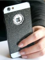 เคสไอโฟน 6 (Hard Case ) กรอบกากเพชรสีดำประดับเพชรวงกลมแอปเปิ้ล