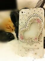 เคสไอโฟน 5/5s (Case Iphone 5/5s) ( เคสไอโฟนกรอบโปร่งใส ประดับเพชร รูปหัวใจ )