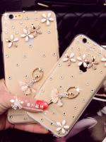 เคสไอโฟน 7 (Hard Case กรอบใส) ประดับเพชรและสาวบัลเล่ย์