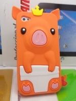 เคสไอโฟน 5/5s (Case Iphone 5/5s) เคสซิลิโคน หมูน้อย สีส้ม