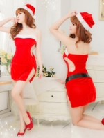 xm013 ชุดแซนตี้ ชุดซานต้าสาว แบบแซก เกาะอก เว้าข้าง พร้อมหมวกและเข็มขัด เซ็กซี่นิดๆคะ