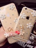 เคสไอโฟน 6 Plus (Hard Case กรอบใส) ประดับดอกไม้เพชรและสาวบัลเล่ย์