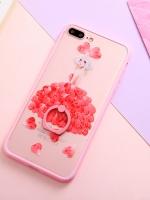 เคสไอโฟน 7 Plus (Silicone case and Hard case back) Pink Girl พร้อมห่วง