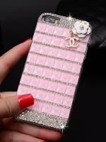 เคสไอโฟน 6 (Hard Case) ประดับเพชรและคริสตัลสีชมพู พร้อมห้อยดอกไม้ Channel
