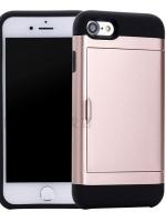 เคสไอโฟน 7 (Silicone Case Inside and Aluminium Outside) Mutifunction เก็บนามบัตรได้ สีทองชมพู