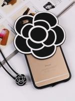 เคสไอโฟน 7 (เคสพลาสติกขอบยาง) ดอกไม้พร้อมสายห้อยคอ