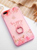 เคสไอโฟน 7 Plus (Silicone case and Hard case back) Pink Flower Happy Day พร้อมห่วง
