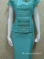 ชุดผ้าไหมญี่ปุ่น ปกแต่งผ้าแก้วพร้อมเข็มกลัด เสื้อ+กระโปรงยาว เบอร์ M เอวใหญ่ สีเขียวมินท์