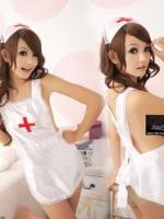 ns030 ชุดนางพยาบาล ชุดผ้ากันเปื้อนสีขาว เซ็กซี่สุดๆ ผ้าผูกกันเปื้อนแบบชุดเมด เซต 3 ชิ้น