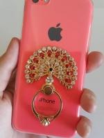 เคสไอโฟน5C (Soft Case) คลุมรอบเครื่องประดับห่วงนกยูงสีขาวแดง