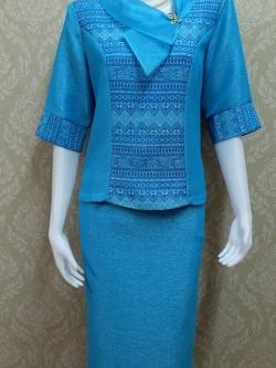 ชุดผ้าไหมญี่ปุ่น ปกแต่งผ้าแก้วพร้อมเข็มกลัด เสื้อ+กระโปรงยาว แขนสามส่วน เบอร์ M เอวใหญ่ สีฟ้า
