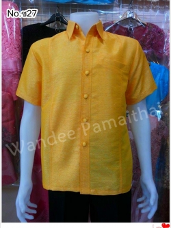 เสื้อไหมญี่ปุ่นซาฟารี สีเหลือง เทศกาลวันพ่อ เบอร์ L