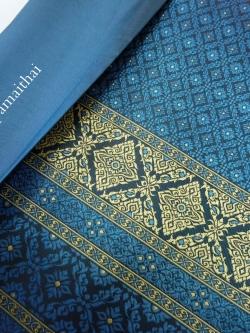 ผ้าไหมเกษตรตัดชุด สีฟ้าน้ำทะเล