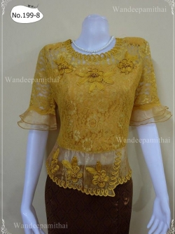 เสื้อลูกไม้เนื้อนุ่ม ใส่สบาย แขน3ส่วน สีทอง แต่งผ้าแก้ว เบอร์42เล็ก อกเสื้อวัดเต็ม 40 นิ้ว