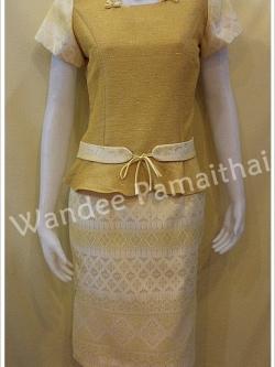ชุดผ้าไหมญี่ปุ่นและผ้าไทย เสื้อ+กระโปรงสั้น เบอร์ 36